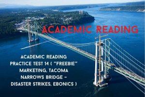 "Academic reading practice test 14 ( Passage 1 ""Freebie"" Marketing, Passage 2 Tacoma Narrows Bridge– Disaster Strikes, Passage 3Ebonics )"