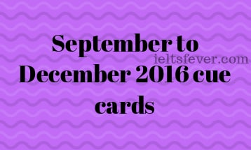 September to December 2016 cue cards