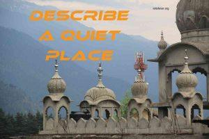 Describe a Quiet Place Cue Card example