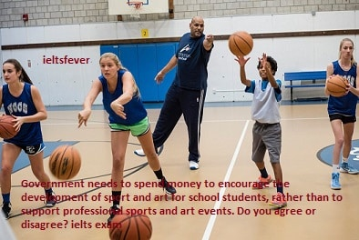 Government needs to spend money to encourage the development of sport and art for school students, rather than to support professional sports and art events. Do you agree or disagree?ielts exam