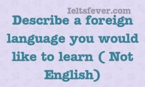 Describe a foreign language you would like to learn ( Not English)