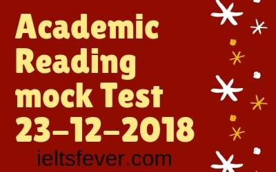 Academic reading Mock Test 23-12-2018