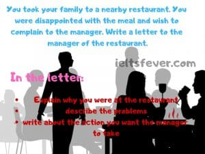 You took your family to a nearby restaurant You were disappointed