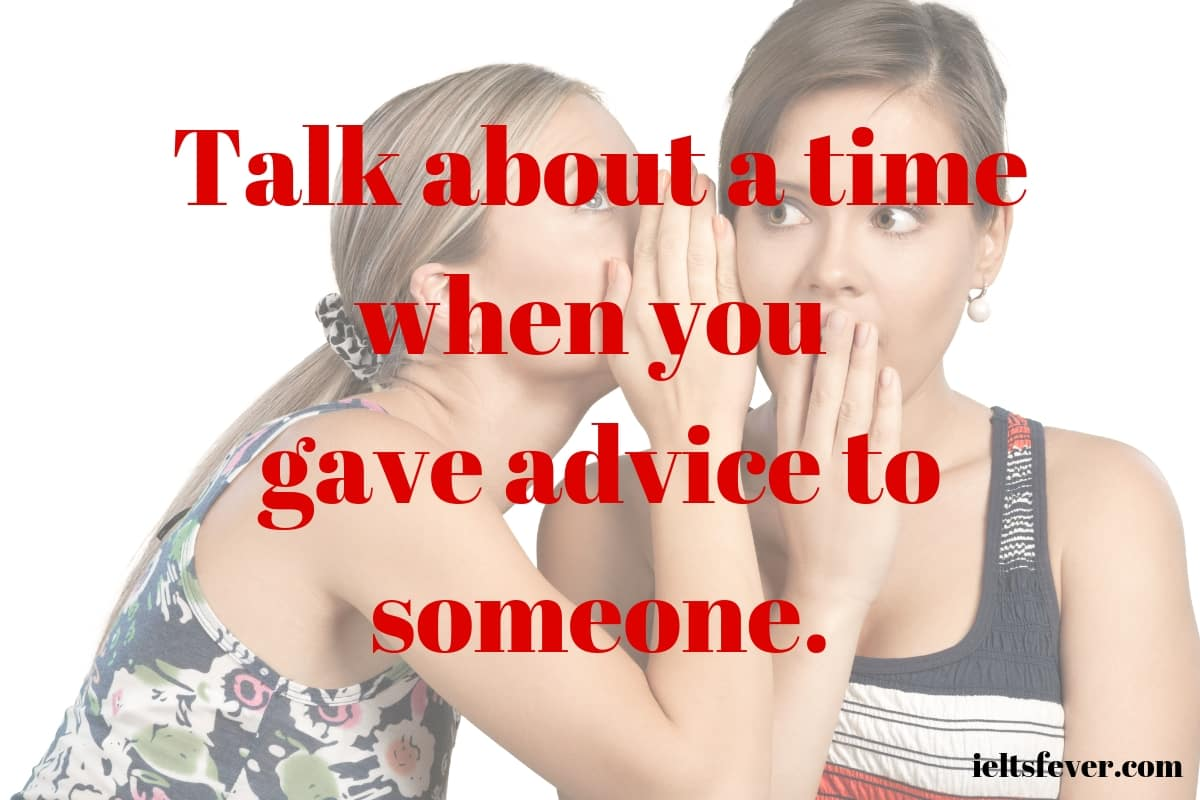 Talk About a Time When You Gave Advice to Someone. sister business