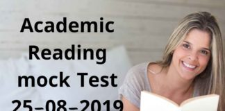 ACADEMIC READING MOCK TEST 25-08-2019