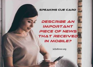 Describe an Important Piece of News That Received in Mobile?