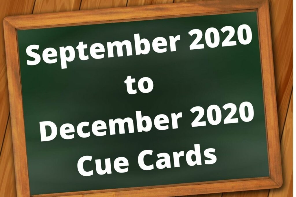 September 2020 to December 2020 Cue Cards