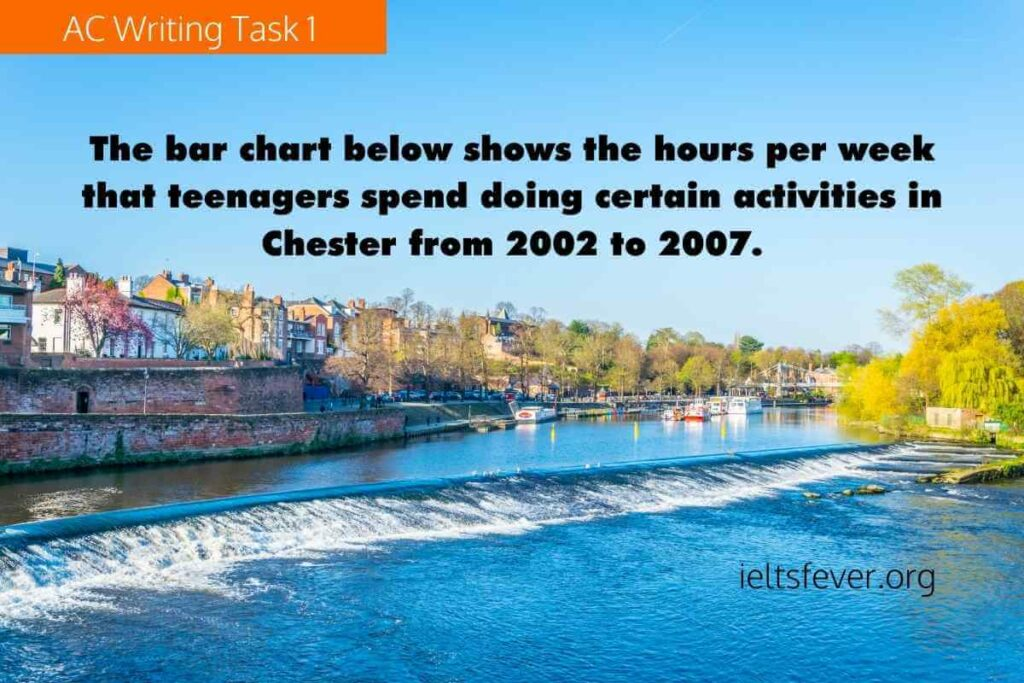 The bar chart below shows the hours per week that teenagers spend doing certain activities in Chester from 2002 to 2007.