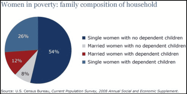 The pie chart shows the percentage of women in poverty