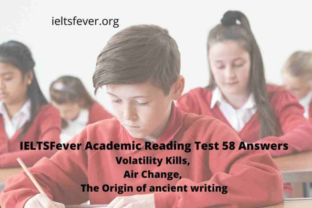 IELTSFever Academic Reading Test 58 Answers Volatility Kills, Air Change, The Origin of ancient writing