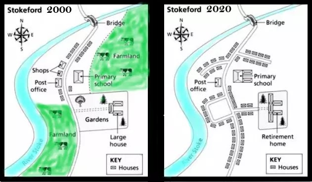 The maps beneath show the town of Stokeford in 2000 and 2020
